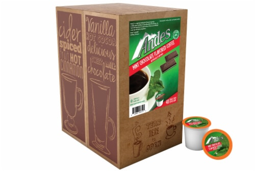Andes Chocolate Mint Flavored Coffee Pods for Keurig K-Cups Brewer, 40 Count Perspective: top