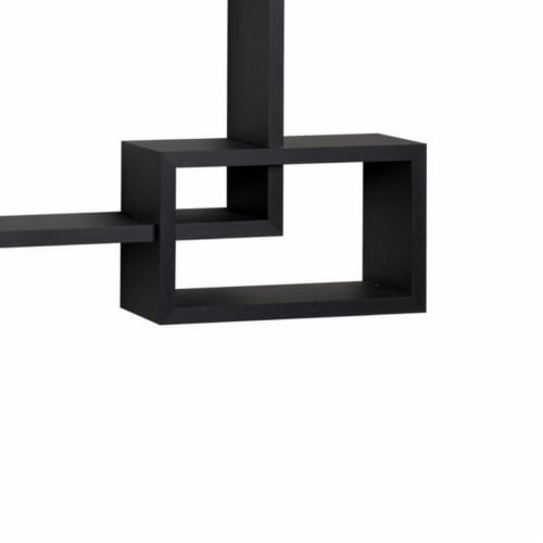 Saltoro Sherpi Intersecting Rectangle Shape Wooden Floating Wall Shelf, Black Perspective: top