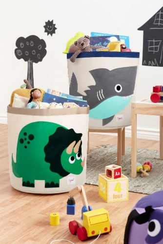 3 Sprouts Canvas Storage Bin - Laundry and Toy Basket for Baby and Kids - Dinosaur Perspective: top