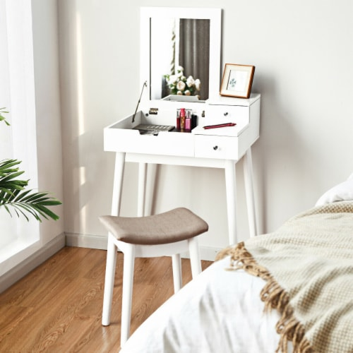 Costway Vanity Dressing Table Flip Desk Furniture Stool 2 White Perspective: top