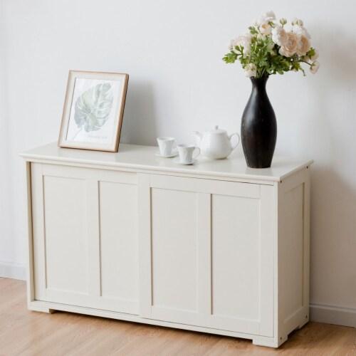 Costway Kitchen Storage Cabinet Sideboard Buffet Cupboard Wood Sliding Door Pantry Perspective: top