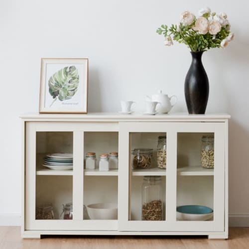 Costway Storage Cabinet Sideboard Buffet Cupboard Glass Sliding Door Pantry Kitchen Off-White Perspective: top