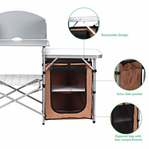 Costway Foldable Camping Table Outdoor BBQ Portable Grilling Stand w/Windscreen Bag Perspective: top