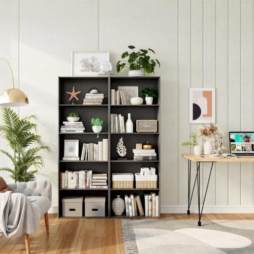 Costway 5-Shelf Storage Bookcase Modern Multi-Functional Display Cabinet Furniture Black Perspective: top