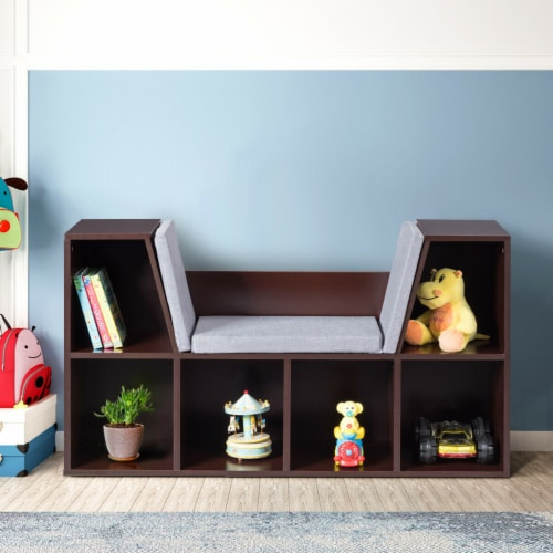 Costway 6 Cubby Kid Storage Cabinet Cushioned Bookcase Multi-Purpose Reading Shelf Brown Perspective: top