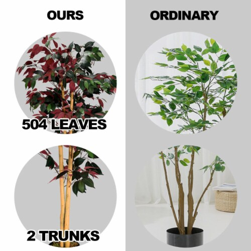 Gymax Artificial Capensia Bush Home Decor 4 Feet Red Green Leaves Perspective: top