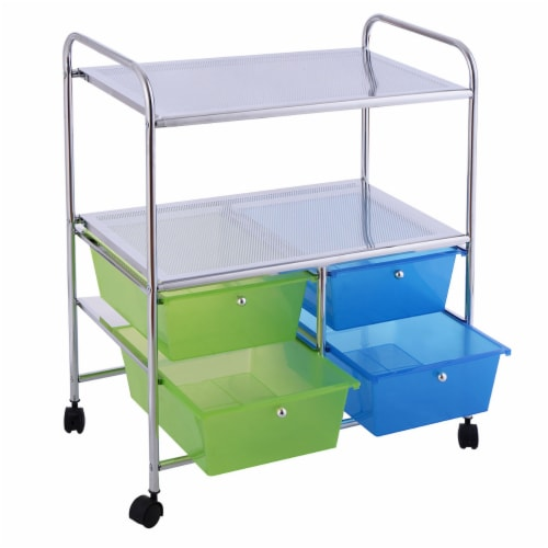 Gymax Rolling Storage Cart Metal Rack Shelf 4 Drawers Home Office Furniture Perspective: top