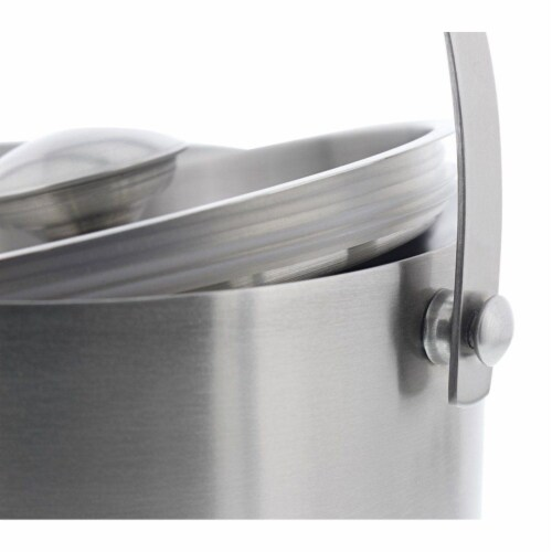 Insulated Stainless Steel Ice Bucket with Scoop, Lid and Handle (6.6 x 7.5 in) Perspective: top