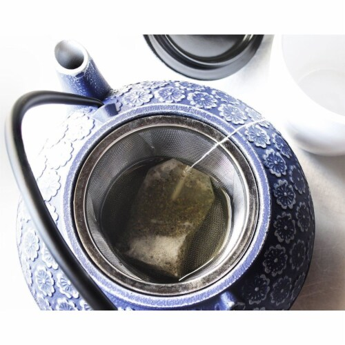 Blue Floral Cast Iron Teapot Kettle with Stainless Steel Infuser 1 Liter Perspective: top