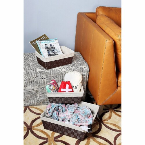 3-Piece Woven Storage Baskets,  Brown and Beige, Small, Medium, and Large Perspective: top