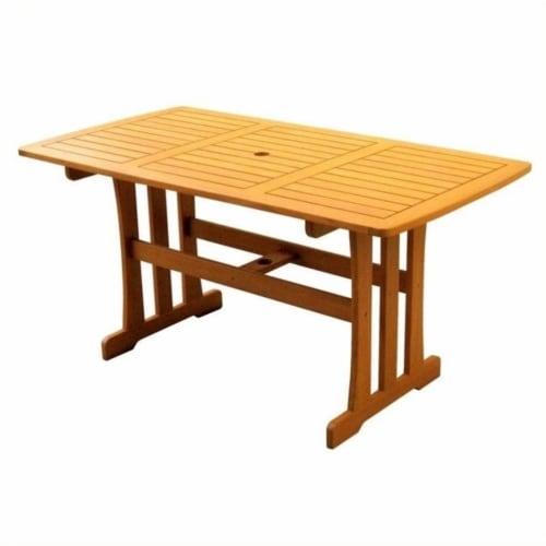 International Caravan Royal Tahiti Rectangular Outdoor Patio Dining Table Perspective: top