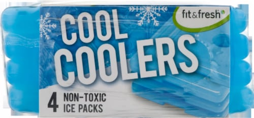 Fit and Fresh Cool Coolers Reusable Ice Packs - 4 pk - Blue Perspective: top