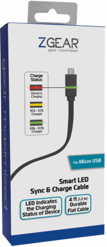 ZGear Smart LED Micro USB Charge and Sync Cable - Black Perspective: top