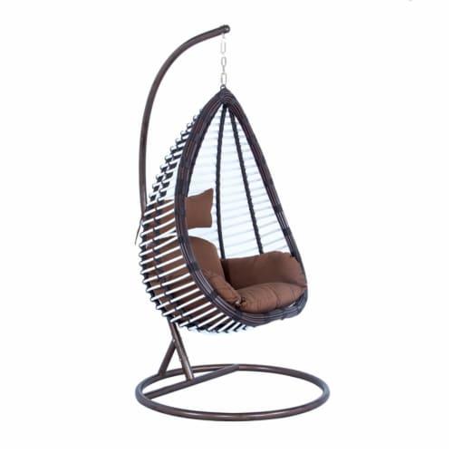 LeisureMod Modern Brown Wicker / Rattan Hanging Egg Swing Chair Indoor/Outdoor Perspective: top