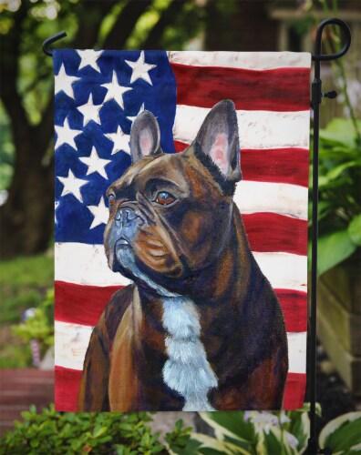 Carolines Treasures  LH9010GF USA American Flag with French Bulldog Flag Garden Perspective: top