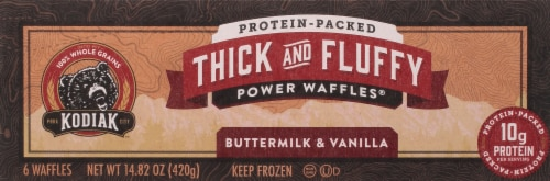 Kodiak Cakes Buttermilk & Vanilla Thick and Fluffy Power Waffles Perspective: top