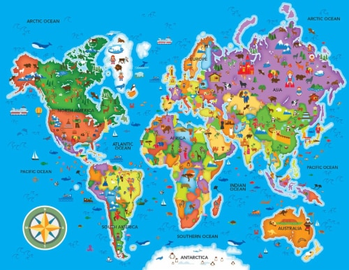 Educational World Map 60 Piece Jigsaw Puzzle Perspective: top