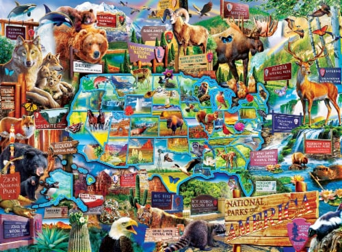 Wildlife of the National Parks 100 Piece Jigsaw Puzzle Perspective: top