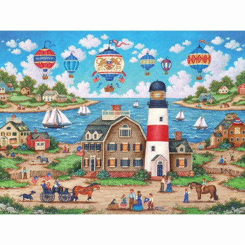 MasterPieces Heartland Balloons over the Bay Jigsaw Puzzle Perspective: top