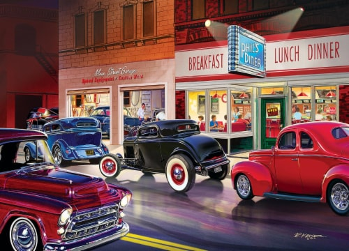 Cruisin Route 66 Phils Diner Jigsaw Puzzle Perspective: top