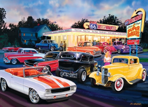 Masterpieces Puzzle Cruisin' Route 66 1000 pc Jigsaw Puzzle Perspective: top