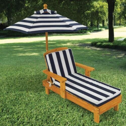 KidKraft Outdoor Children's Chaise with Umbrella - Navy Perspective: top