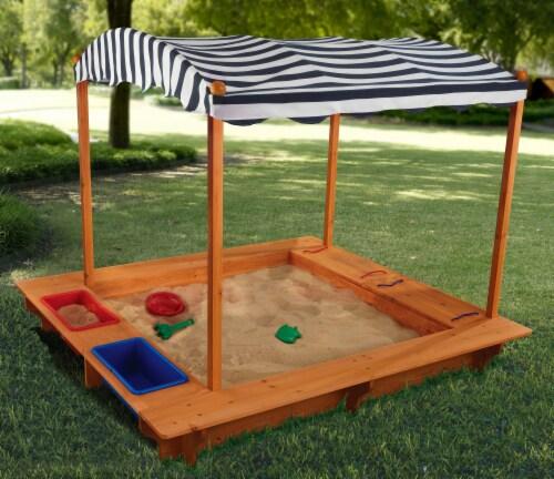 KidKraft Outdoor Children's Sandbox with Canopy - Navy & White Perspective: top