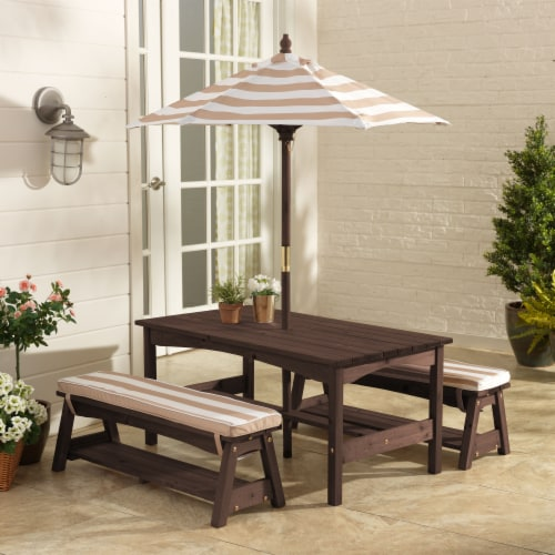 KidKraft Outdoor Children's Table & Bench Set w/ Cushions & Umbrella-Oatmeal & White Stripes Perspective: top