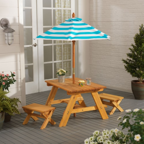 KidKraft Outdoor Children's Table & Bench Set with Umbrella - Turquoise & White Perspective: top
