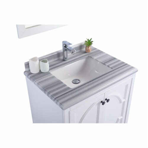 Odyssey - 30 - White Cabinet + White Stripes Marble Countertop Perspective: top