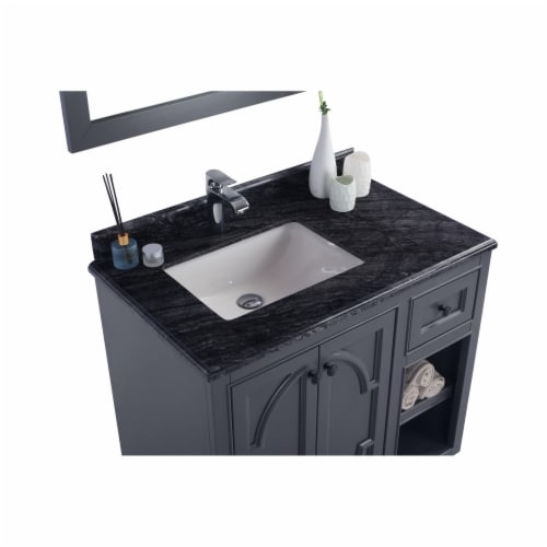 Odyssey - 36 - Maple Grey Cabinet + Black Wood Marble Countertop Perspective: top