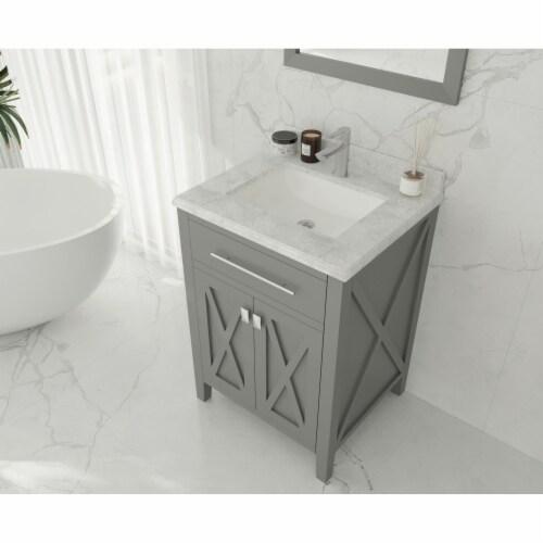 Wimbledon - 24 - Grey Cabinet + White Carrara Marble Countertop Perspective: top