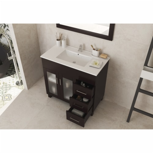Nova 36 - Brown Cabinet + Ceramic Basin Countertop Perspective: top