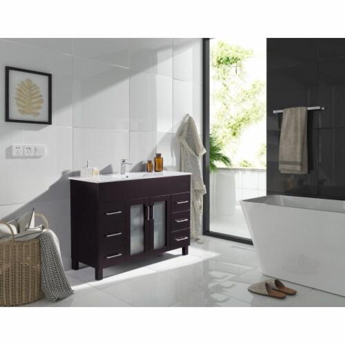 Nova 48 - Brown Cabinet + Ceramic Basin Countertop Perspective: top