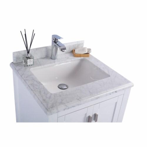 Wilson 24 - White Cabinet + White Carrara Marble Countertop Perspective: top