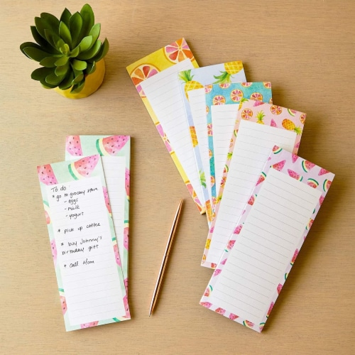 Magnetic Fridge Notepads for Grocery, Shopping to-Do Lists, Memos, Fruit Design (6 Pack) Perspective: top