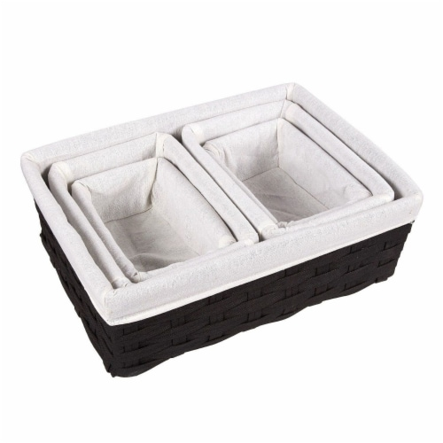Juvale Woven Storage Baskets, Decorative Storage Bins (5-Pack) Perspective: top