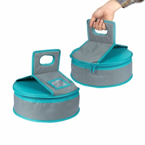 Insulated Round Thermal Casserole Food Carrier for Lunch, Teal and Grey Perspective: top