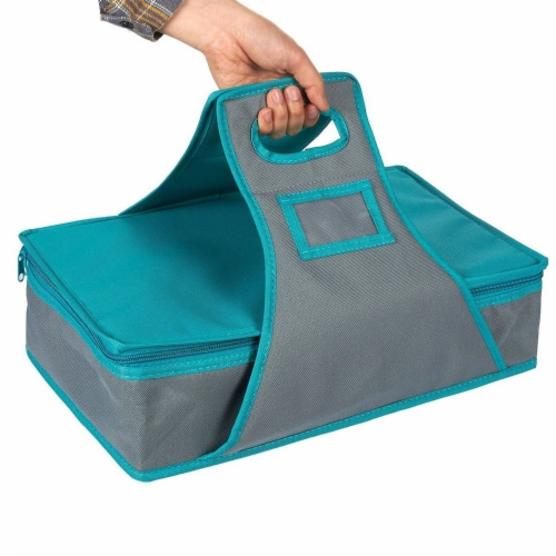 Insulated Rectangle Thermal Casserole Dish Carrier, Teal and Grey, 16 x 10 x 4 inches Perspective: top