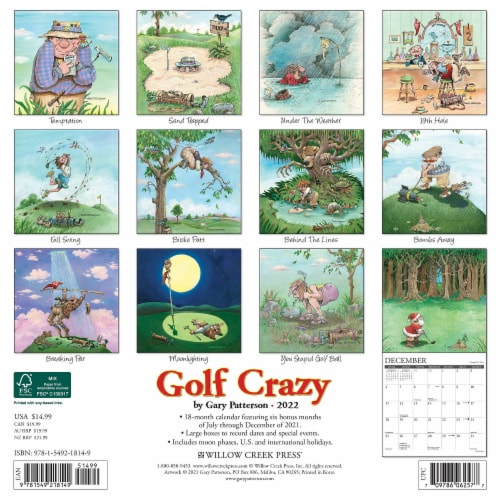 Golf Crazy by Gary Patterson 2022 Wall Calendar Perspective: top