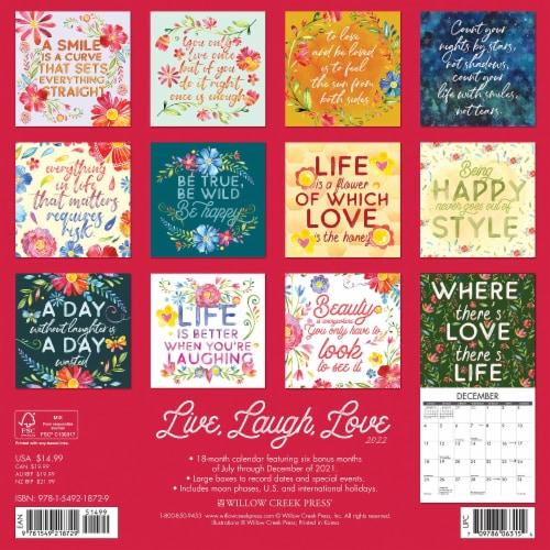 Live, Laugh, Love 2022 Wall Calendar Perspective: top