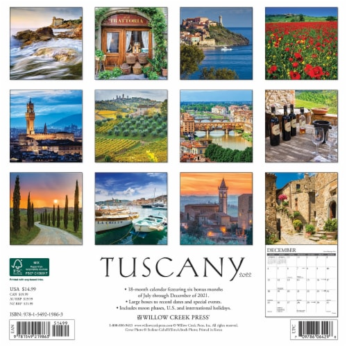 Tuscany 2022 Wall Calendar Perspective: top