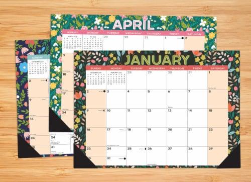 Spring Floral 17  x 12  Monthly Deskpad Calendar Perspective: top