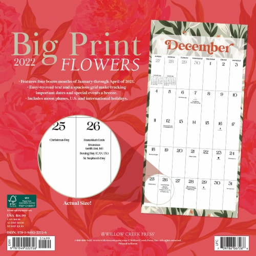 Big Print Flowers 2022 Wall Calendar, Floral Large Grid Planning Perspective: top