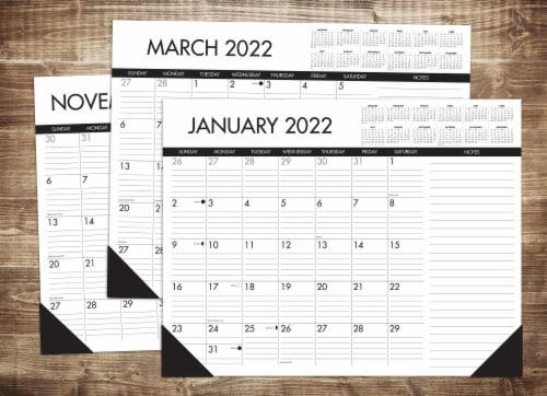 Black & White 22  x 17  Large Monthly Deskpad Calendar Perspective: top