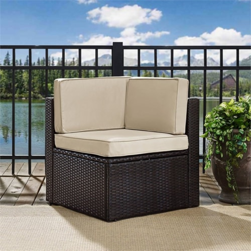 Palm Harbor Wicker Patio Corner Chair with Sand Cushions - Crosley Perspective: top