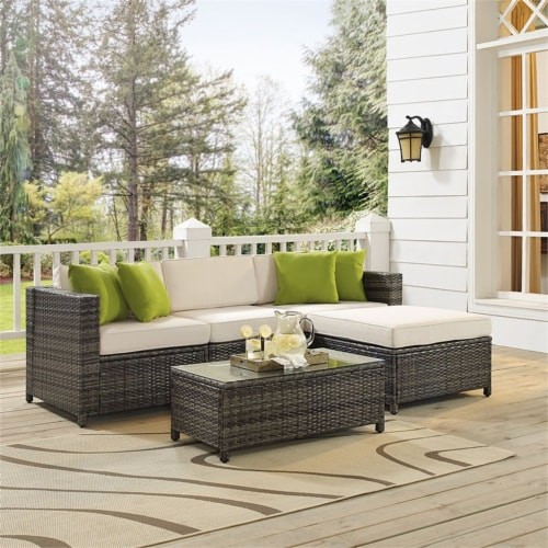 Sea Island Resin 5 Piece Right Facing Patio Sectional Set in Gray-Crosley Perspective: top