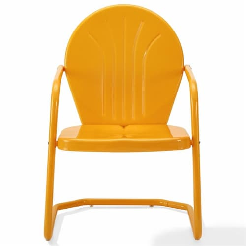 Furniture Griffith Sturdy Steel Metal Patio Chair in Orange-Crosley Perspective: top