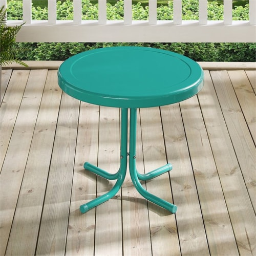 Furniture Retro Sturdy Steel Metal Patio End Table in Surf Green-Crosley Perspective: top