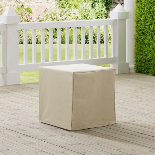 Crosley Patio End Table Cover in Tan Perspective: top